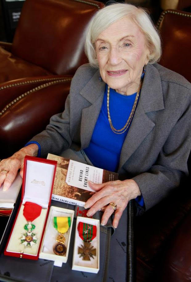 Marthe Cohn with medals awarded by the French military for her bravery and espionage activities against the Nazis in WWII.
