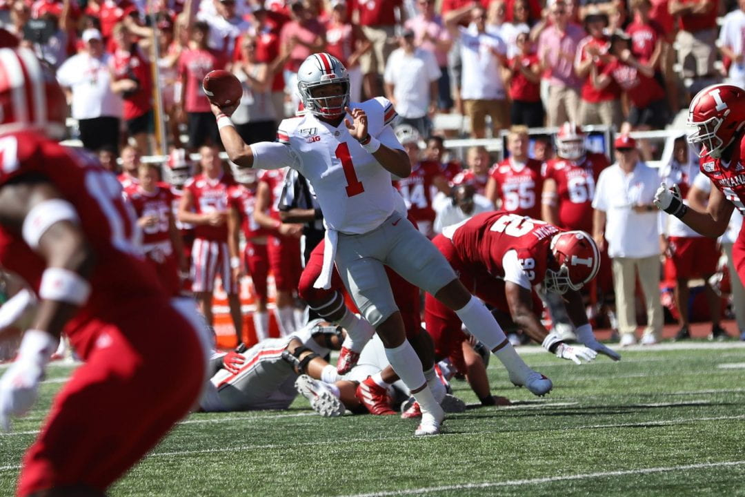 Buckeyes' second-year transfer quaterback Justin Fields (1) has been a key player in the Buckeyes' success story, throwing 18 touchdowns so far this season.