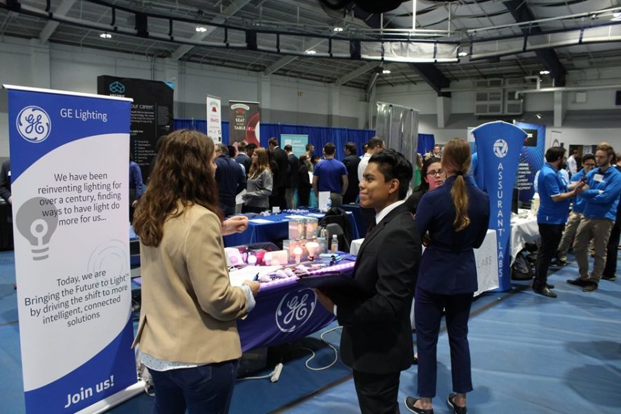 Students utilized the opportunity to talk to potential employers at the annual career fair.