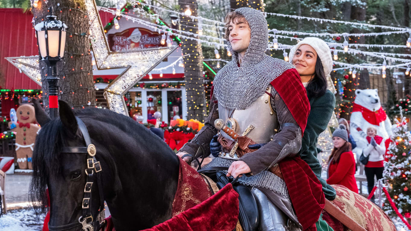 A knight from the past and a woman in the present, prepare to ride off into their future together.