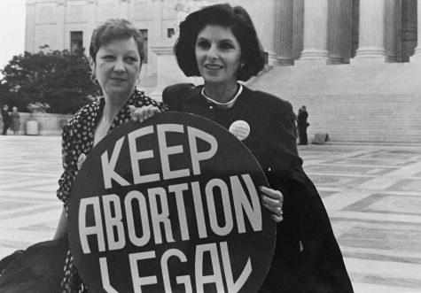 Jane Roe and her lawyer outside of the Supreme Court.