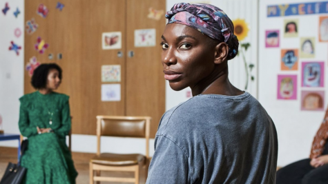 Arabella (Michaela Coel) in a survivors meeting.