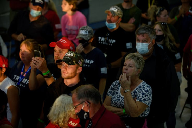 Supporters gather for a speech by Donald Trump. These rallies are known to have strong influences on attendees, promoting a variety of opinions—some dangerous, based on unsubstantiated