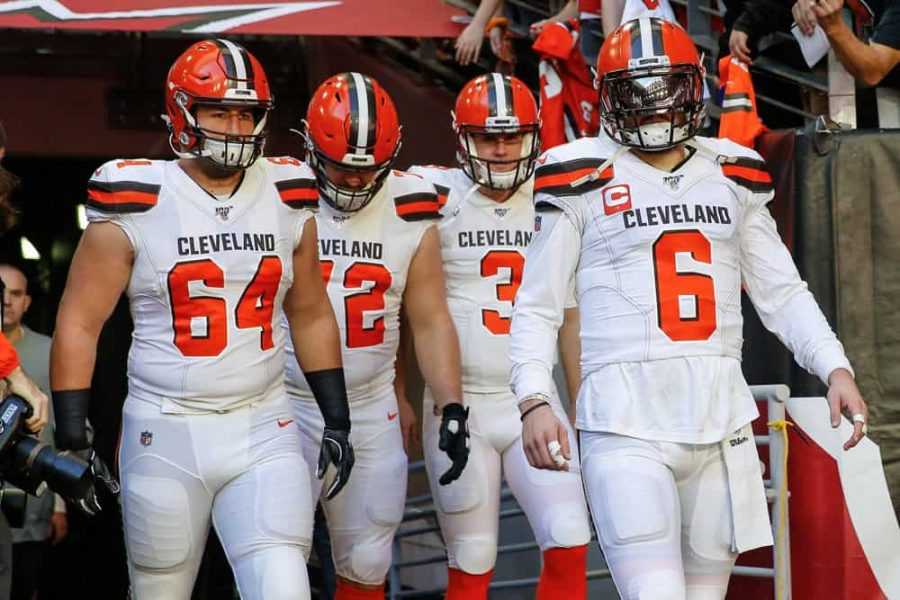 JC Tretter (left) and Baker Mayfield (right) led the Browns against the Chiefs in a hard fought battle to the end.