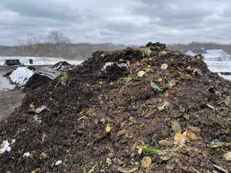 A compost pile at the University Farm where tons of food scraps are deposited every year and turned into soil to be used for crops.