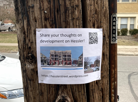 A notice posted on a telephone pole near Hessler Road encourages the community to share their input on the new apartment plan that could further gentrify University Circle.