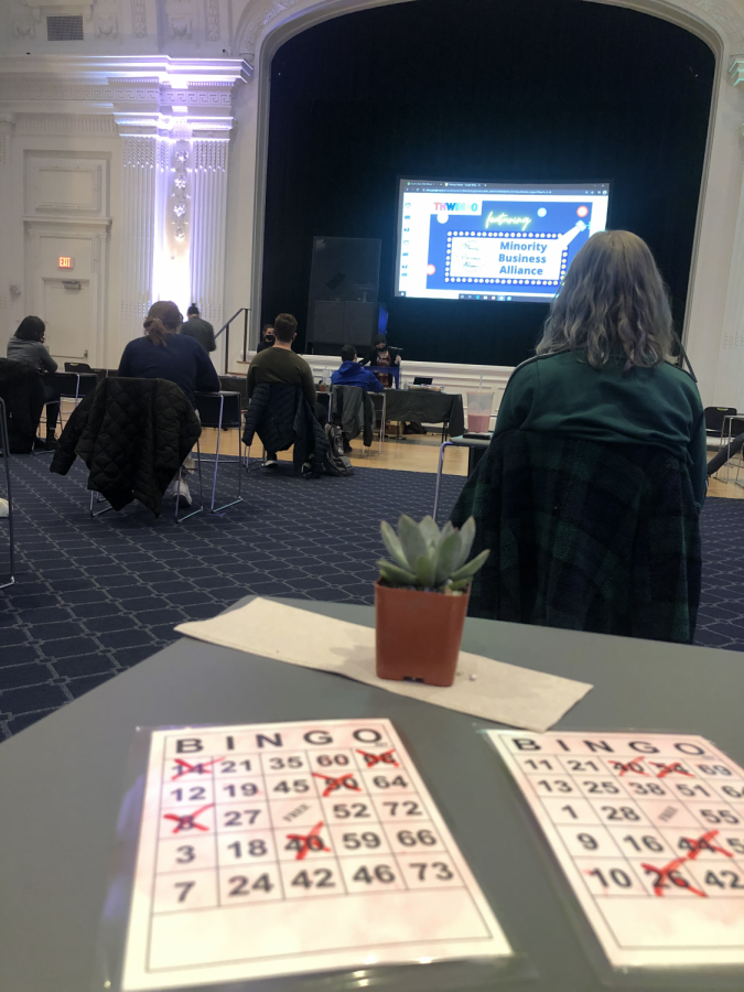 Students turn Thwing Ballroom into a senior citizens' center with a night of bingo fun.