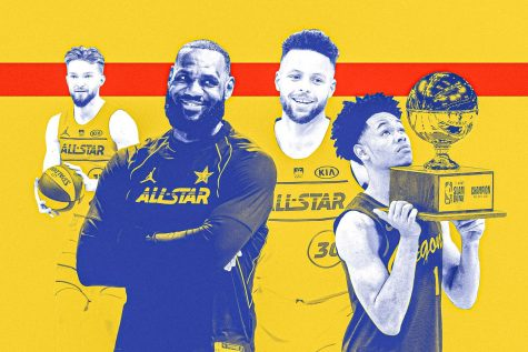 Domantas Sabonis (left) won the skills challenege, Team Lebron, led by captain Lebron James (center left) won the All-Star game, Stephen Curry (center right) dominated the three point contest, and Anfernee Simons (right) took home the slam dunk contest prize.