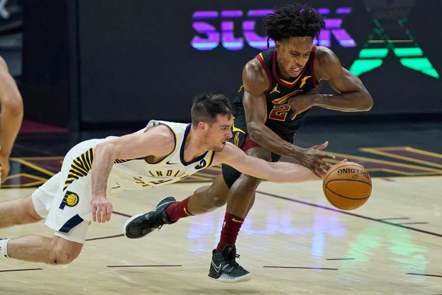 Collin Sexton (right) led the Cavs to a 114-111 win over the Indiana Pacers right before the All-Star break, racking up 32 points, 10 assists and 4 rebounds in the game.