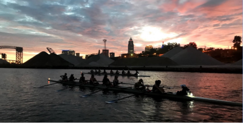 With practices starting early in the mornings at 5:30 a.m., the crew team gets to enjoy the beautiful sunrises and sites of Cleveland.
