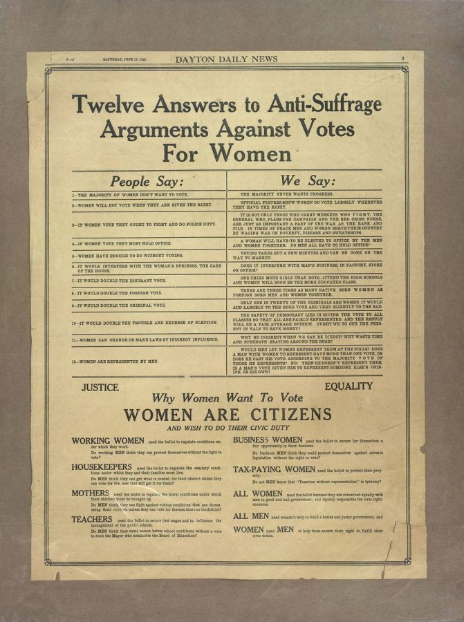 A newspaper clipping from the Dayton Metro Library's women's suffrage collection outlines how to respond to anti-suffrage arguments.