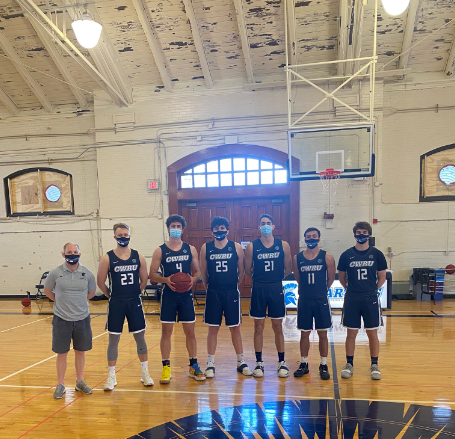Assistant Coach Mike Fitzpatrick (far left) led the Blue Team, which included Ignas Masiulionis, Hunter Drenth, Max Day, Ryan Newton, Connor Ryan and Jeremy Callahan (left to right).