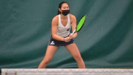 In the first singles match of her CWRU tennis career, Chloe Ku defeated Hannah Keidan 8-1.