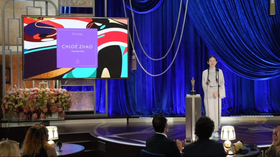 """Chloé Zhao wins """"Best Director"""" for """"Nomadland"""" in the middle of an overall weak ceremony."""