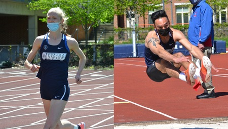 Second-year Cecelia Zielke (left) won the 10,000-meter run while Ben Pinkowski (right) dominated the field events, winning the high jump, long jump and the javelin throw.