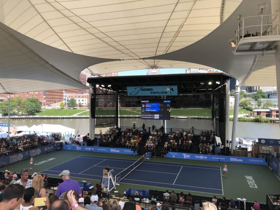 Irina-Camellia Begu and Anett Kontaveit play the in their second set of the singles finals at Jacob's Pavilion, overlooking the Cuyahoga River.