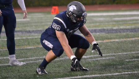 Third-year defensive lineman Jacob Scheponik collected two solo sacks during Saturdays game between the Spartans and the Presidents .